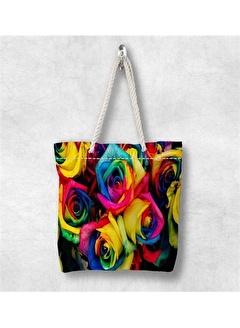 Else Halı Renkli Güller 3D Desenli Fermuarlı Kumaş Omuz Çantası